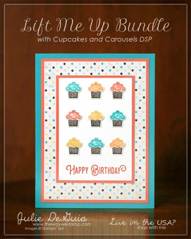 """This first card was made with two of the smaller stamps from the Lift Me Up set and matching Up & Away Thinlits Dies and I think it turned out great! Sometimes I like to take the """"supporting"""" stamps from a set and make them shine on their own card. The cupcake wrappers were stamped in Early Espresso and then I added Clear Wink of Stella to each which blurred and filled in the lines and added a bit of sparkle. It doesn't show up in this photo but looks great in person. I stamped the tops of…"""