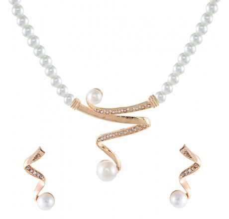 Cubic Zirconia Pearl Gold Plated Necklace Set from muhenera