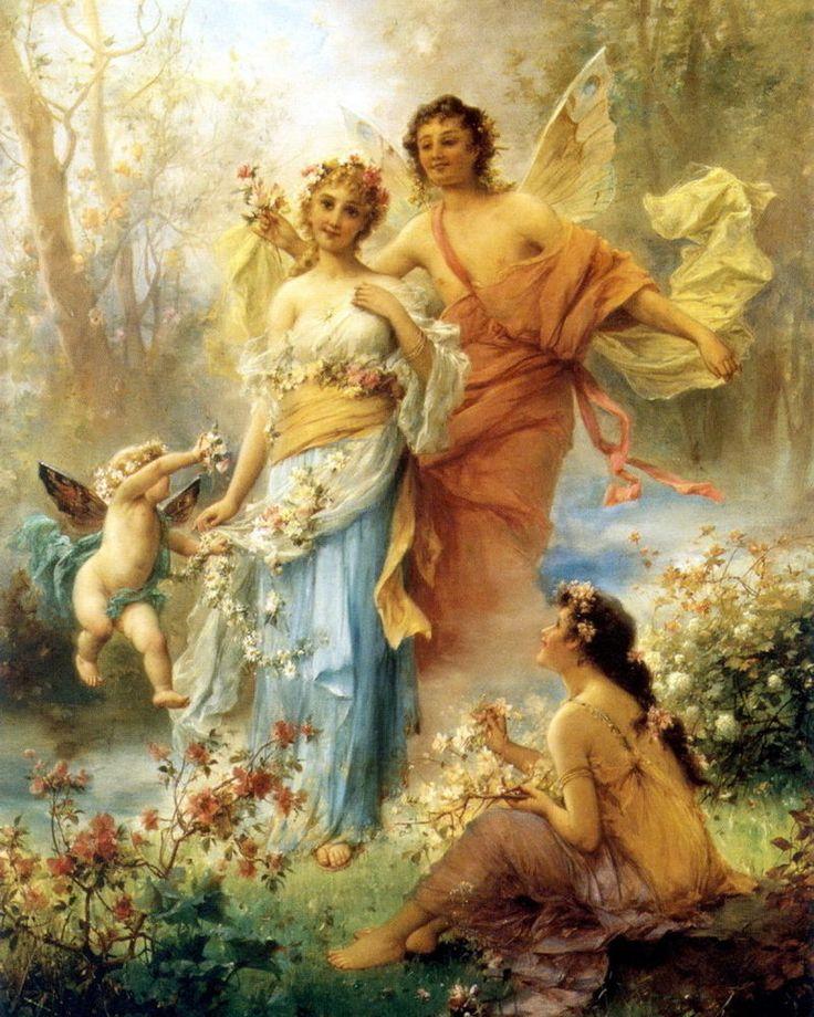 Hans Zatzka Print Greek Goddess Myth Cherub Fairy Cupid Putti Angel Garden Roses