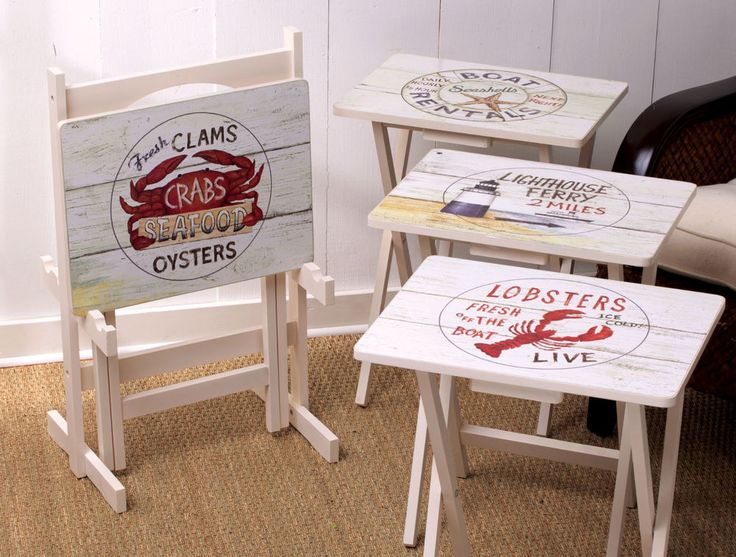 Set of 4 Seaside Nautical Beach Coastal Folding TV Trays W/ Stand Clam Crab  #Tropical