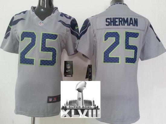 women nike seattle seahawks 25 richard sherman grey 2014 super bowl xlviii nfl jerseys