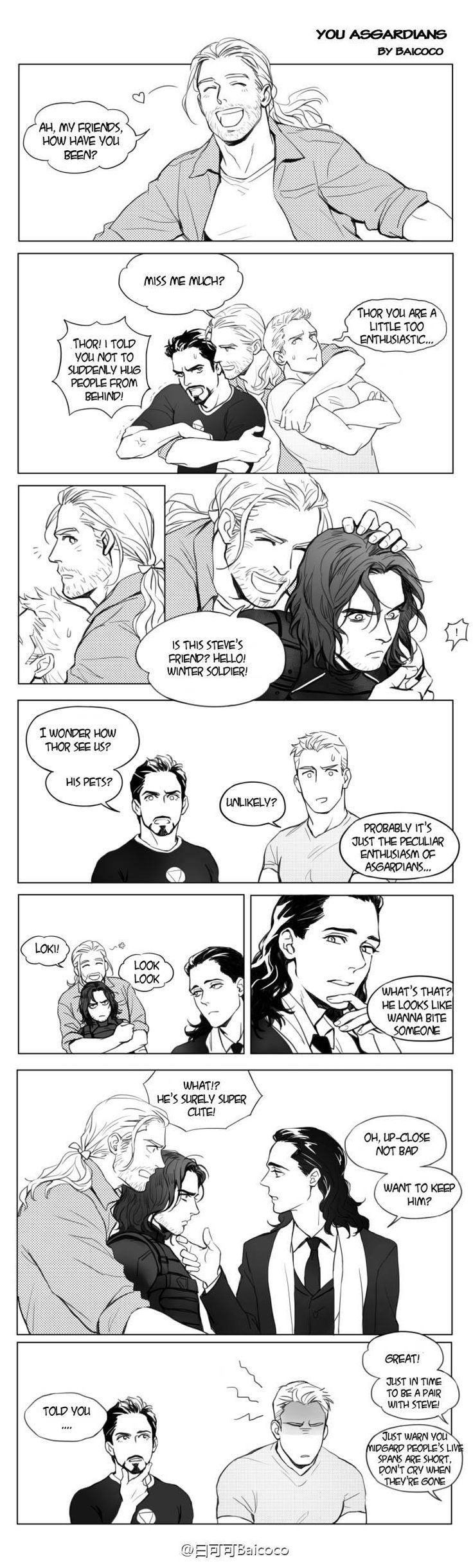 Thor ships Stucky, LOL, and sure, he has good looking for guys, Bucky it's super cute