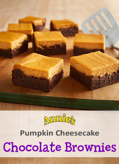 This pumpkin-y sweet treat will give you all the fall feels. To make these slices of heaven, beat 8 oz. cream cheese & 1/3 cup sugar in a mixer on medium speed until smooth. Blend in 1 egg and beat until smooth. Add in 3/4 cup pumpkin puree, 1 tsp. vanilla & ½ tsp. pumpkin pie spice & mix. Next, prepare Annie's Annie's Organic Double Chocolate Brownie Mix per the package directions. Pour the brownie batter in a greased pan & the pumpkin mixture on top. Bake at 350F for 40-44 min. Cool…