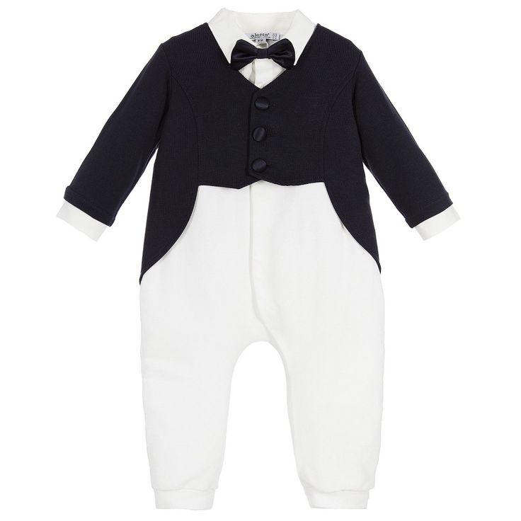 ALETTA Boys Cotton Bow Tie & Tails Babygrow