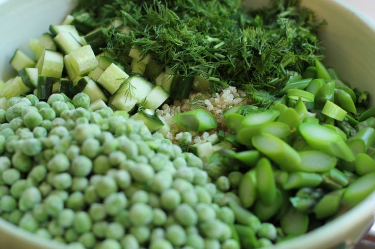 peas, cucumbers, asparagus and dill for the green and white quinoa salad