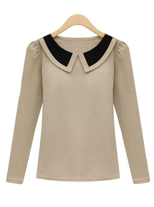 Apricot Contrast Lapel Long Sleeve Slim T-Shirt EUR€15.50