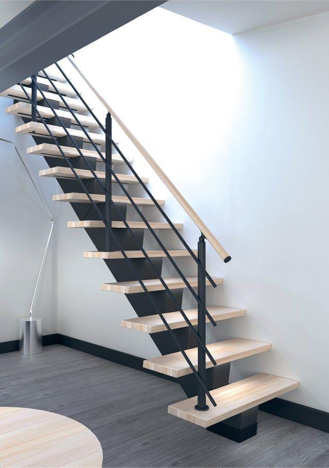 Escalier Droit Bois Anthracite Gomera 14 Marches Hetre L 85 Cm Leroy Merlin Escalier Droit Escalier Escalier En Kit