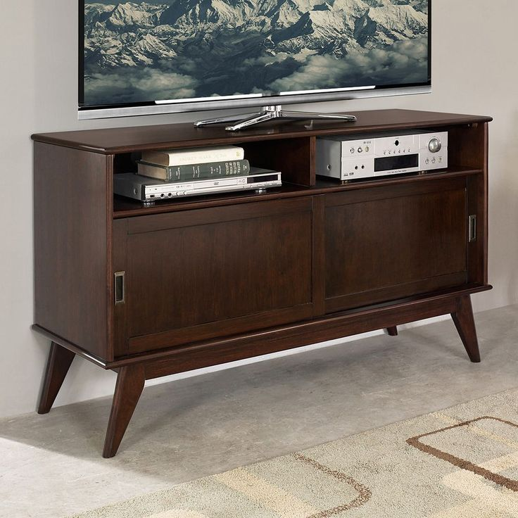 Simpli Home Draper Mid-Century Tall TV Stand, Brown
