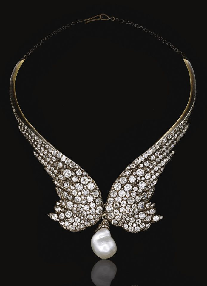 DIAMOND NECKLACE, 1860S.  Designed as a pair of wings, set with circular- and rose-cut diamonds, suspending at the front a later baroque cultured pearl drop,  fitted case by Gianmaria Buccellati #unique...x