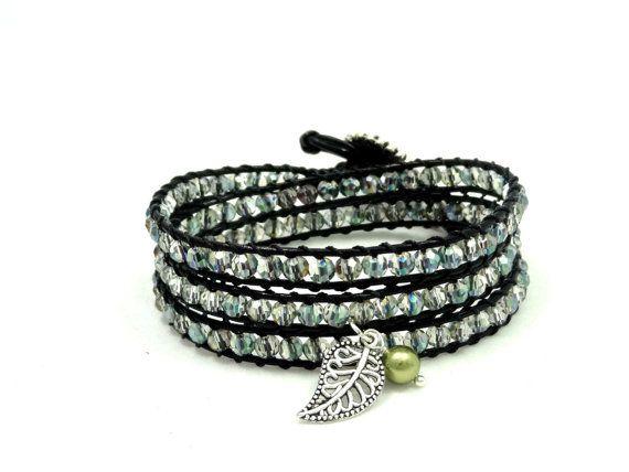 Leather Wrap Bracelet, Crystal Bracelet, Leather Wrap Bracelet with Swarovski Pearl and Leaf Charm, 3x Wrap Bracelet, Bohemian Bracelet