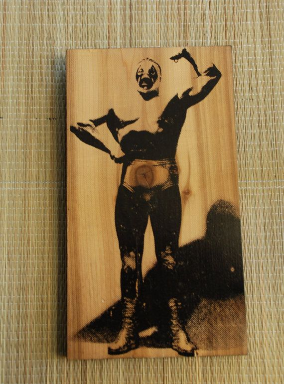Mil mascaras transfer on wood lucha libre by valazozartandvintage, $20.00
