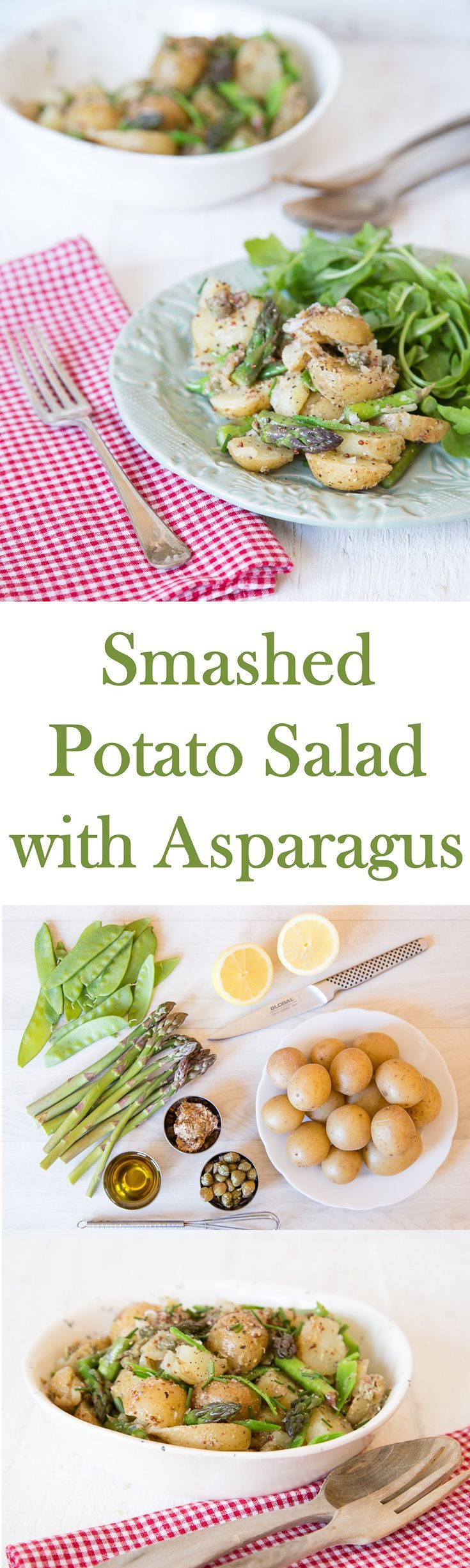 An easy vegetarian recipe for a potato salad with asparagus & mangetout with…