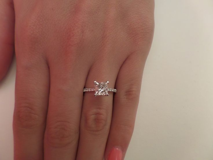 details about 302 ct princess cut dvs2 diamond solitaire engagement ring 18k white gold - White Gold Princess Cut Wedding Rings