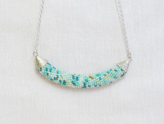 turquoise Necklace beige Pendant NecklaceSeed by DolgovaSvetlana, $33.00