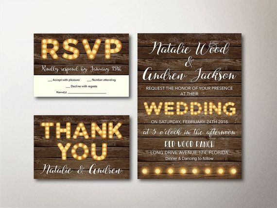 Rustic Wedding Invitation Printable, Marquee Letters Wedding Invitation Suite. DIY wedding Invite. Matching welcome sign available at: lipamea.etsy.com