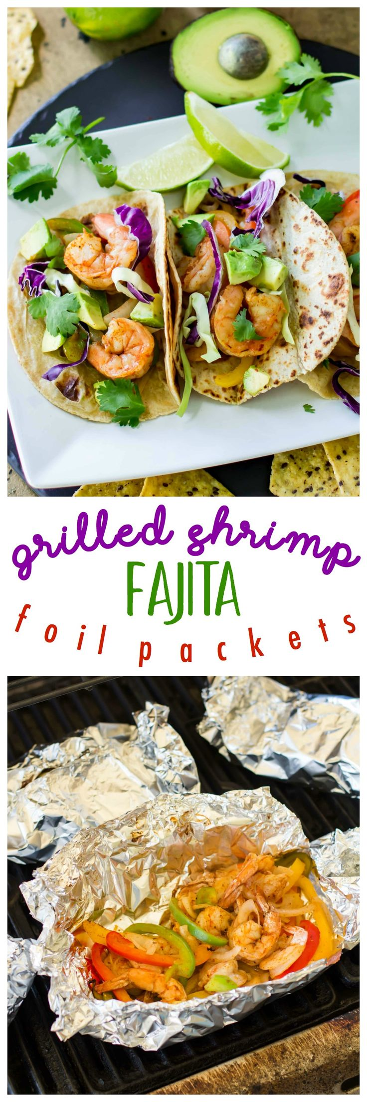 Grilled Shrimp Fajita Foil Packets are so easy and delicious. Perfectly cooked in foil – juicy shrimp, tender bell peppers and onions can be wrapped into a warm tortilla for a super fast dinner, that's packed with incredible flavor! AD