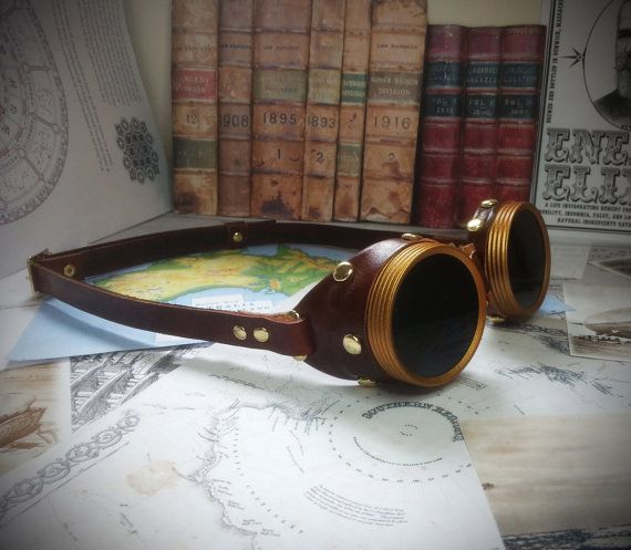 Steampunk Goggles Brass & Brown Leather - The Commander , Dieselpunk, Adventurer, Time Traveller, Explorer, Airship, Kraken, Burning Man on Etsy, $60.00