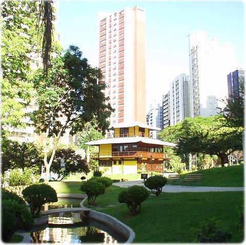 A Japanese garden in the Praça do Japão, in Curitiba, Parana.