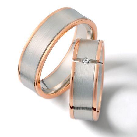 Sencillo y moderno diseño en oro blanco y rosado de 18k