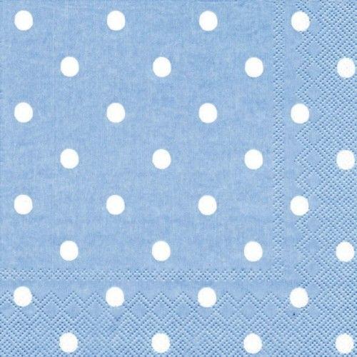 Sevilletas dots celestes. Decoración para baby shower. http://mundobabyshower.cl/servilletas-dots-celeste