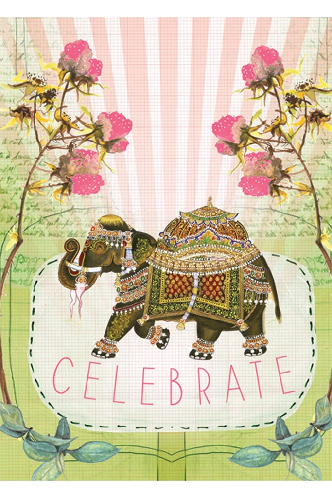 Fancy Elephant Greeting Card available at SWERVE. www.swervestudio.com