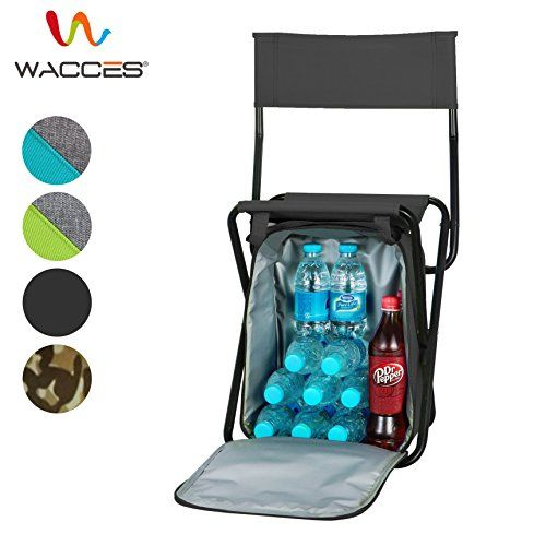 Wacces Multi-Purpose Backpack Chair/ Stool with Cooler Bag for Hiking/Fishing/Camping/Picnicking (Black with Backrest). For product & price info go to:  https://all4hiking.com/products/wacces-multi-purpose-backpack-chair-stool-with-cooler-bag-for-hiking-fishing-camping-picnicking-black-with-backrest/
