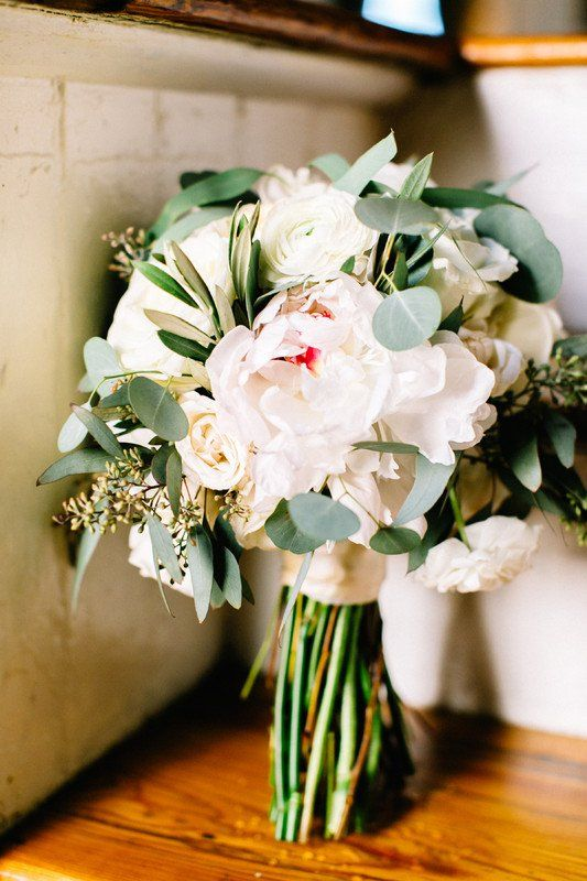 Spring wedding bouquet idea - white peony + rose bouquet with greenery {Elevents & Co}