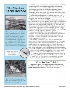 In this worksheet, your student will be asked to analyze the influence of the attack on Pearl Harbor on Americans. US history. Printables. Worksheets. Social studies.
