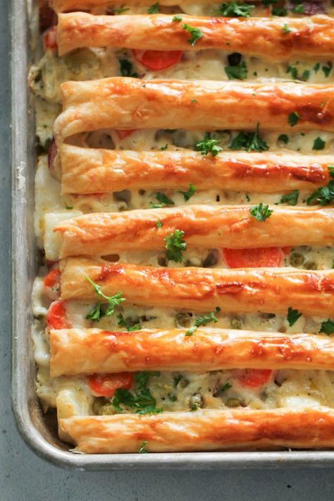 Sheet Pan Chicken Pot Pie Recipe - Six Sisters' Stuff | This family-friendly, easy and delicious chicken pot pie is made in one pan! It was a hit with my whole family! #dinner #familydinner #sixsistersrecipes