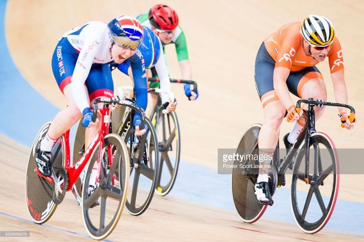 #TWC2017 Katie Archibald of Great Britain competes with Kirstein Wild of the Netherlands on the Women's Omnium Points Race 4/4 during the during 2017 UCI World Cycling on April 14, 2017 in Hong Kong, Hong Kong.