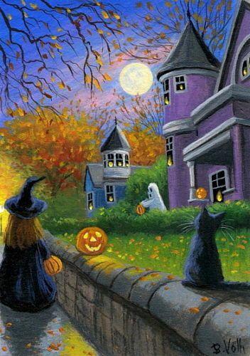 Black-kitten-cat-witch-ghost-pumpkins-Halloween-moon-original-aceo-painting-art