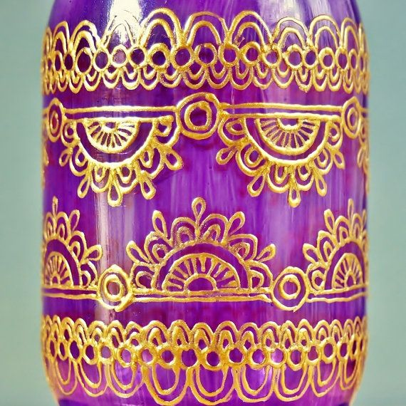 Violet Glass Mason Jar Lantern with Gold Henna Style by LITdecor