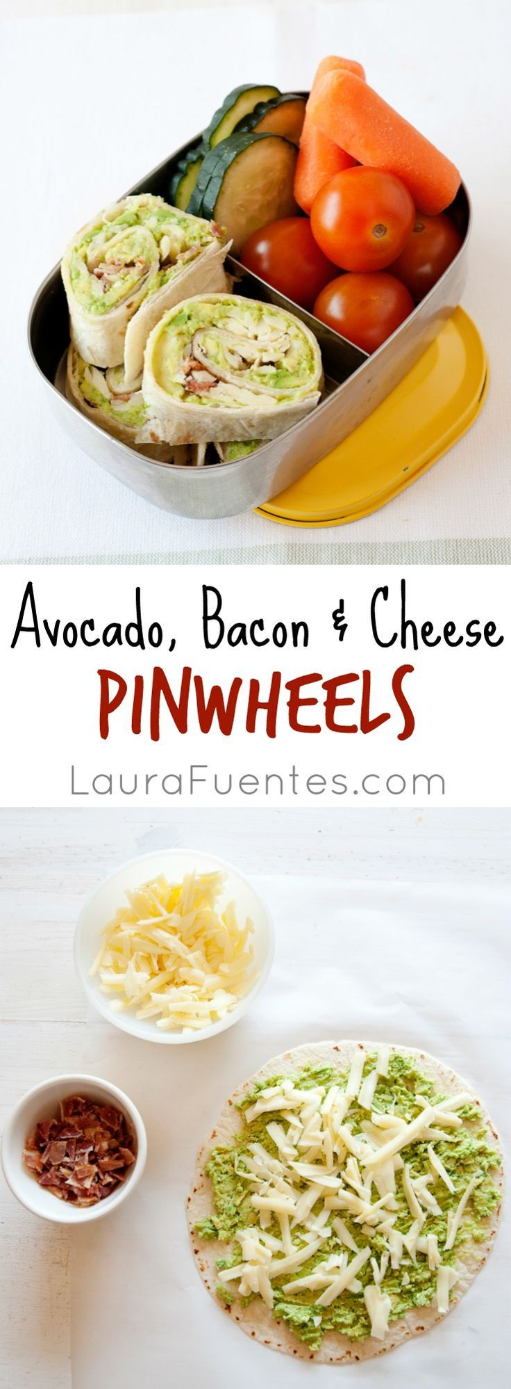 Avocado Bacon and Cheese Pinwheels: Perfect for your office lunch or a twist on your kids lunchbox. Get creative and change up your sandwich with a wrap!