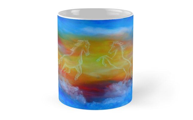 Coffee Mug, horses, sky, impressive, equine, equestrian, colorful, blue, magical, majestic, fantasy, home, kitchen, accessories,cool,beautiful,unique,artistic,unusual,for sale,design,gifts,presents,ideas, redbubble