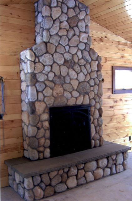 Thin Veneer River Rock Fireplaces