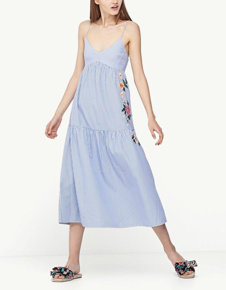 Embroidered strappy poplin dress - Just in   Stradivarius Thailand