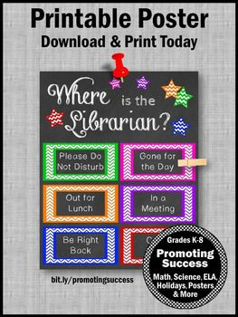 Where is the Librarian Sign, Library Poster, Gift for School Librarian Door Sign