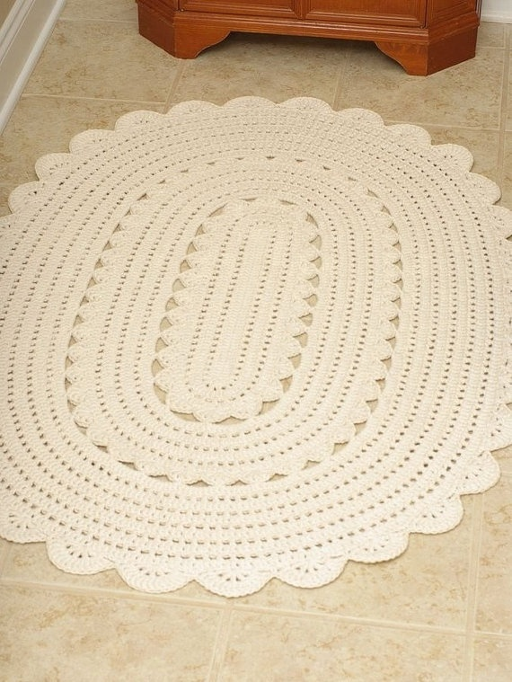 Handmade Crochet Oval Doily Rug Quot Alicia Quot Off White Oval