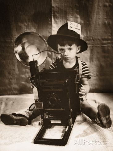 Boy in Press Photographer's Hat, With Old Fashioned Camera Photographic Print