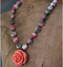 Lula 0320. Collar perlas multicolor y rosa