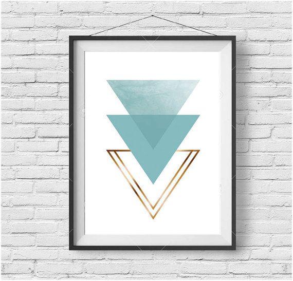 Light Turquoise Triangle Print Mint Triangle Art by PrintAvenue