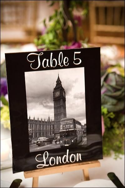 Table numbers with different cities (or movies, or songs, etc.) that played a role in your story as a couple
