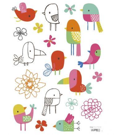 Sticker chambre enfant oiseaux tropicaux