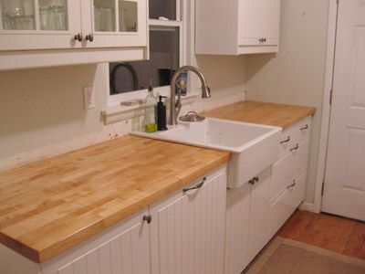 Butcher block countertop care instructions - can be purchased at Ikea for a reasonable price ...