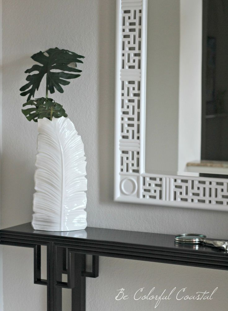 white ceramic tropical vase with palm fronds and white Hollywood Regency mirror @Be Colorful Coastal