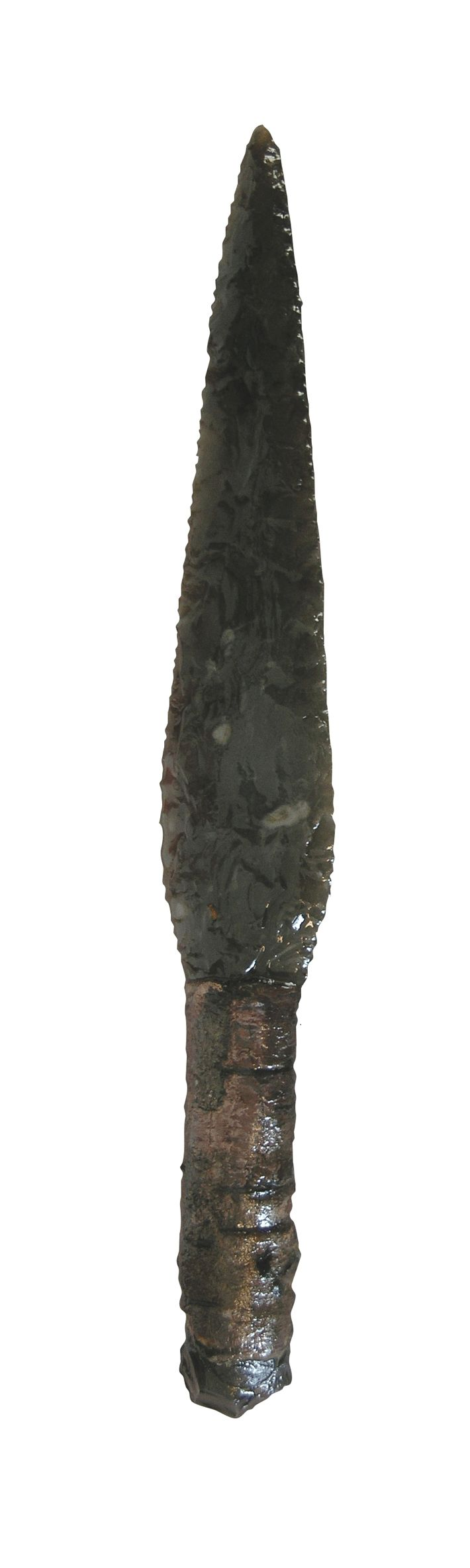 Early Bronze Age Dagger found made of Flint. The dagger is modeled after its bronze counterparts and demonstrates the skill that tool and weapon makers had developed during the preceding Neolithic period. The find is even more exciting, explains Rosendahl, because, in addition to the stone blade, the dagger's shaft and even the birch bark wrapped around the handle to give the user a better grip were preserved after several thousand years.