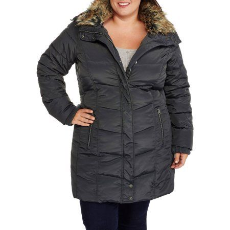 Faded Glory Women's Plus-Size Heavyweight Long Puffer Coat, Gray