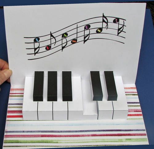 Piano Keyboard Pop Up Card - PAPER CRAFTS, SCRAPBOOKING & ATCs (ARTIST TRADING CARDS)
