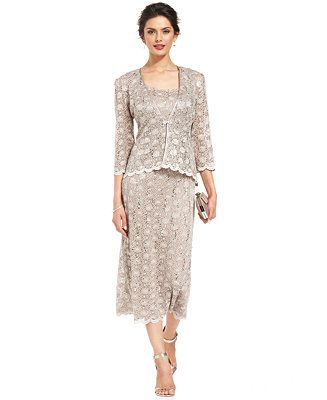 R&M Richards Sleeveless Sequined Lace Dress and Jacket - Mother of the Bride - Women - Macy's