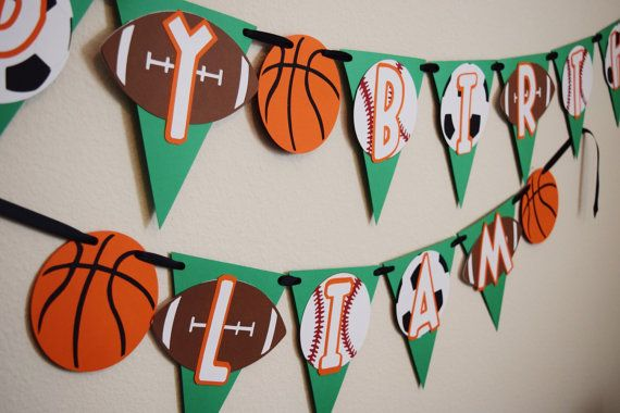 Sports Birthday Party ; Basketball Birthday ; Happy Birthday Banner ; Boy Birthday Banner ; Birthday Party Decorations by Lets Get Decorative